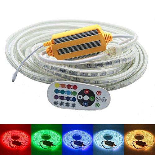 230V LED Band, RGB mehrfarbig Strip, IP68 Wasserdicht Lichtband, 5050 SMD 60LEDs pro Meter, Super helle Streifen mit 24 Keys Fernbedienung für Innen Außen Party Hochzeit Weihnachten Dekolicht [RGB, 10m]