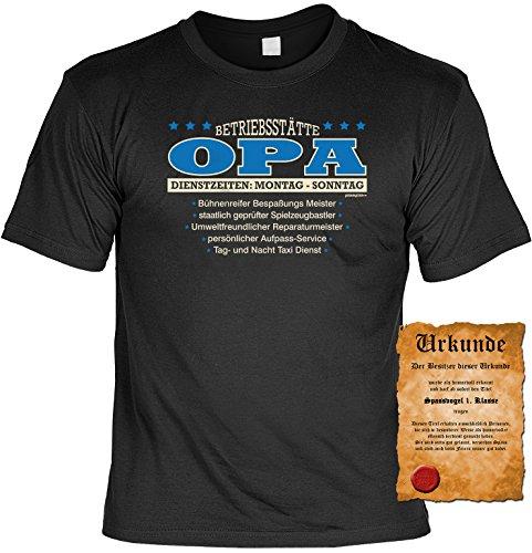 Spaß/Fun-Shirt + gratis Fun-Urkunde Aufdruck für Großväter: Betriebsstätte Opa - lustiges Geschenk Schwarz