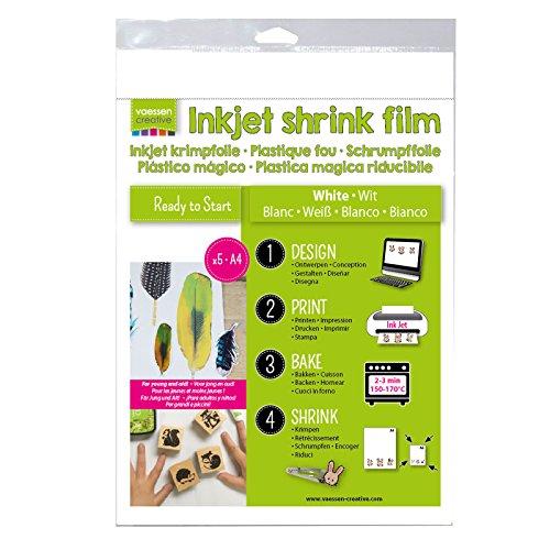 Vaessen Creative Schrumpffolie für Inkjet A4, Plastic, White, 33.4 x 21.9 x 0.3 cm, 5-Einheiten