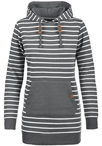 Blend SHE Cloey Damen Kapuzenpullover Hoodie Long Sweatshirt mit Fleece-Innenseite Longline Sweat-Kleid aus hochwertiger Baumwollmischung, Größe:S, Farbe:Pewter Mix (70817)