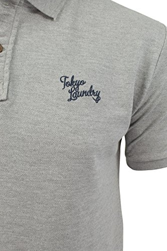 Herren Polo T-Shirt von Tokyo Laundry `Penn State`kurzärmlig Light Grey Marl