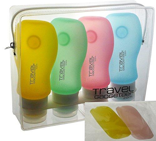 Set di 4x 89ml bottiglie da viaggio in silicone con 2 astucci protettivi per spazzolino da denti da Travel Gadgeteer. Prodotto approvato dall'ente per la sicurezza dei trasporti TSA (USA) (Giallo / verde / blu / Peach)