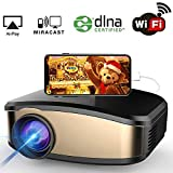 Proiettore WiFi, proiettore wireless HuiHeng proiettore LCD Mini proiettore full HD per le parti Home Entertainment Video Games Supporto AirPlay Miracast Wireless Display