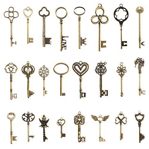 Pulluo 24pcs Antike Deko Schlüssel Retro Anhänger Bronze Schlüssel Steampunk Deko Schlüssel für Hochzeit DIY Dekoration Party Halskette Anhänger Schmuckherstellung Handwerk
