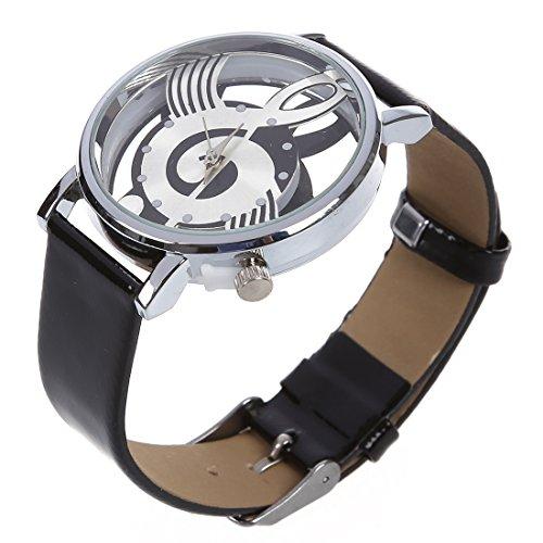Reloj de pulsera de cuarzo de cuero sintetico - SODIAL(R)Reloj de pulsera de cuarzo de esqueleto hueco de musica de correa de cuero sintetico para hombre y mujer negro