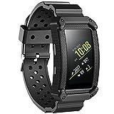 JIELIELE Gear Fit 2 Armbänder mit Schutzhülle, Anti-Auswirkungen Weiches Silikon Sports Ersetzerband Perforiert Atmungsaktiv Wasserdicht Uhrenarmbänder Armband für Samsung Gear fit 2/ Gear Fit2 Pro Smartwatch Zubehör (Black)