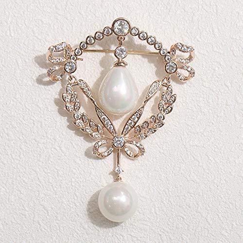 Serired Brosche Zarte Retro-inspirierten Imitation Perle Gold und Silber Zweifarben-personalisierte...
