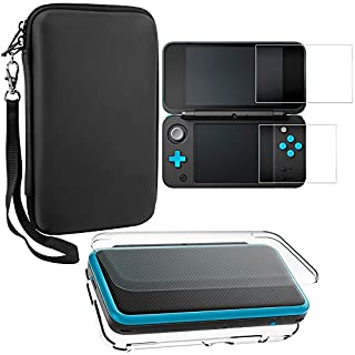 AFUNTA Protective Cases for Nintendo New 2DS XL with Screen Protectors, 1 Crystal Clear Case and 1 EVA Carrying Case for 2DSXL Console, with 2 Pcs Anti-Scratch Tempered Glass Films for Screens