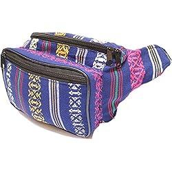 SoJourner Bags Riñonera - Tribal Boho hippie tejido Eco estilo un tamaño Tela de tejido de algodón raya bohemio (Marina de guerra real)