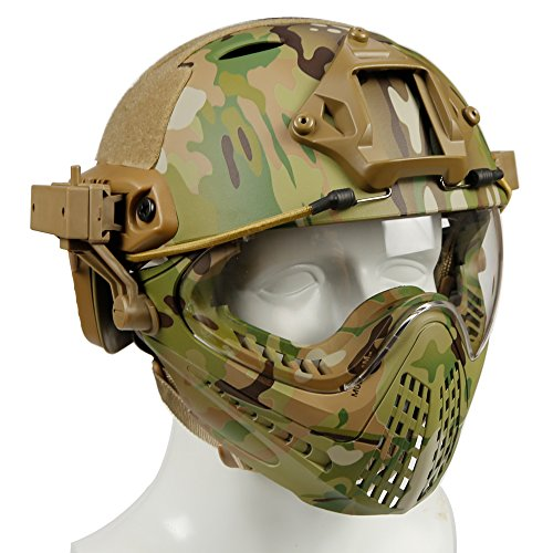 Taktischer Helm mit entfernbarer Gesichtsmaske und Schutzbrillen für Militärarmee Airsoft