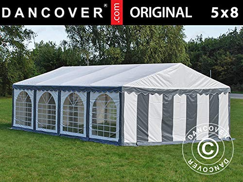 Dancover Partyzelt Pavillon Festzelt Original 5x8m PVC, Grau/Weiß