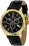 LOUIS XVI Herren-Armbanduhr Danton Gold Schwarz Römische Zahlen Chronograph Analog Quarz echtes Leder Schwarz 470