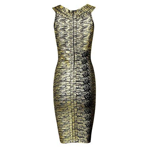 HLBandage Kunstseide Damen Reizvoller V-Ausschnitt Metallic Foliendruck Verband-Kleid Schwarz Gold