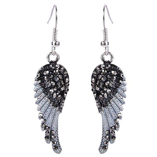 TENYE oesterreichische Kristall Elegant Engel Fluegel Hook Dangle Ohrringe schwarz Silber-Ton