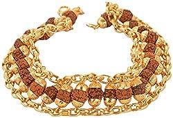 Handicraft Kottage Brass Rudraksha Gold Plated Chain Bracelet For Men(Agbr 022)