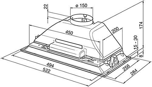 Smeg KI52E Built-in Silver 300m³/h E cooker hood - cooker hoods (300 m³/h, Ducted, F, g, E, 63 dB)