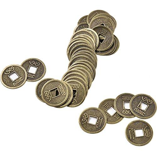100 Piezas de Moneda Feng Shui China Monedas I-Ching Monedas de Fortuna con Bolsa de Almacenamiento para Suerte Salud y Riqueza