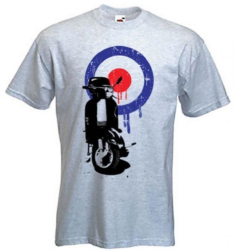 Mod Target Vespa Scooter Mens T-Shirt, grey or white