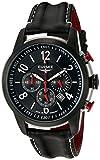 Herren Armbanduhr THE RACE I von Elysee Uhren, Herren Uhr Chronograph mit schwarzem Lederarmband, Edelstahl schwarz/Edelstahlfarbenem Gehäuse und schwarzem Ziffernblatt