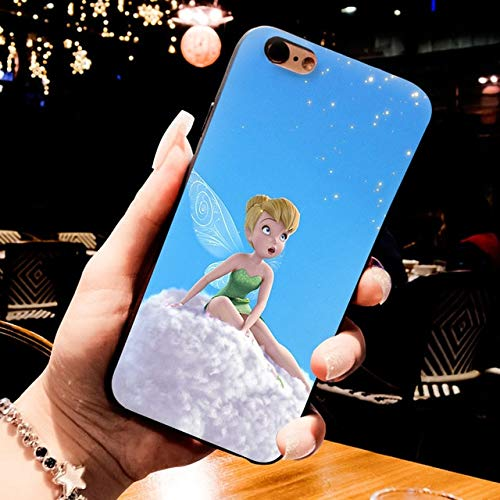 White SkyBlue Tinkerbell iPhone 8 Plus Sized Case, Bigger Screen Tinker Bell 7 Plus Cover Peter Pan Fairy Themed Animated Cartoon Movie Angel Wings Stars White Green, TPU