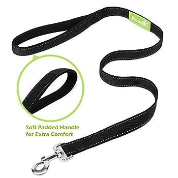 Pecute Hundeleine Doppelleine 2 Hunde Reflektierende Elastische Nylonband 1.6 M Schwarz 5