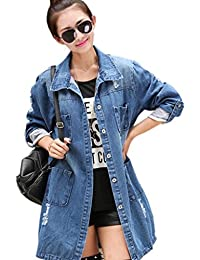 Caqueta vaquera para mujer, estilo casual, chaqueta larga, suelta, tallas S - 4XL