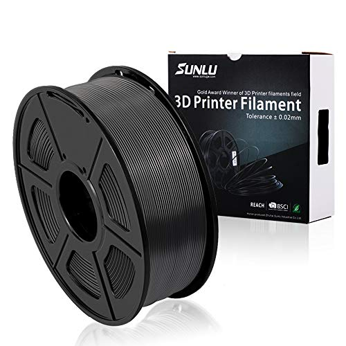 3D Printer Filament PLA+,PLA+ Filament 1.75 mm SUNLU,Low Odor Dimensional Accuracy +/- 0.02 mm 3D Printing Filament,2.2 LBS (1KG) Spool 3D Printer Filament for 3D Printers & 3D Pens,Black