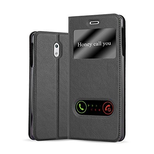 Cadorabo Hülle für Nokia 3 2017 - Hülle in KOMETEN SCHWARZ – Handyhülle im Standfunktion und 2 Fenstern (View Design) - Case Cover Schutzhülle Etui Tasche Book Klapp Style