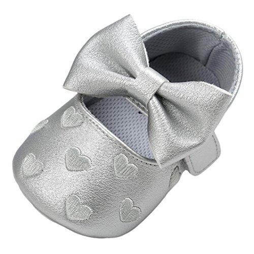 Yogogo Bowknot bébé Chaussures en cuir PU Sneaker Antidérapant Chaussures souples Gris