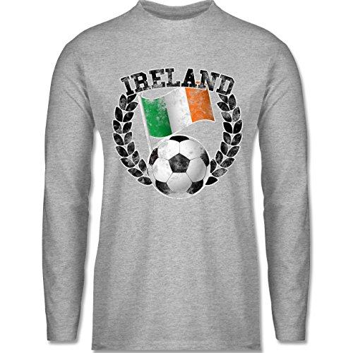 EM 2016 - Frankreich - Ireland Flagge & Fußball Vintage - Longsleeve / langärmeliges T-Shirt für Herren Grau Meliert