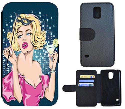 Flip Cover Schutz Hülle Handy Tasche Etui Case für (Apple iPhone 4 / 4s, 1340 Wolf in der Nacht Tier) 1339 Frau Cartoon wie Marilyn Monroe