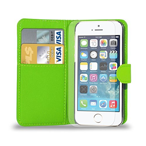 Apple iPhone 7 - Ledertasche Flip Case Cover Tasche + Retractable Stylus Pen + Touch Screen Protector & Poliertuch ( Schwarz ) Green