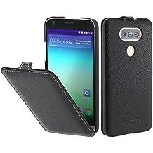 StilGut UltraSlim, housse LG G5 en cuir. Etui de protection à ouverture verticale et à fermeture clipsée en cuir véritable, noir