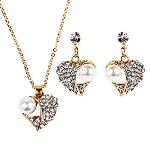 Preisvergleich Produktbild DOLDOA Mädchen Damen elegante Weinlese Herz geformte Halsketten Ohrring Schmucksache Satz Schmuck Set