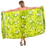 LA LEELA a Mano di Vernice Pesce di Mare Pareo Costumi da Bagno Rayon Coprire Pareo 78x43in Verde