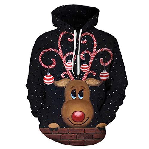 KPILP Herren Damen Weihnachten Langarm Sweatshirt Kapuzenpullover Hoodies Herbst Winter Hemd Shirt X-Mas Pullis Rentier Drucken Pullover Mit Kapuze