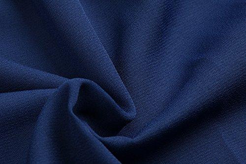 Donna Camicia Elegante Chiffon Manica Corta Blusa Estiva Camicetta A Pieghe Spalla Di Parola Bandeau Senza Spalline Camicie Puro Colore Maglietta T-Shirt Cerimonia Casuale Top Blu