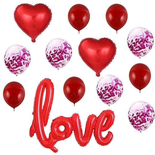 Onebycitess Balloons und Heart Balloons Kit Valentinstag Dekorationen für Brautduschen, Hochzeit, Verlobungsdekor und Geburtstagsfeiern - Office Space Kit