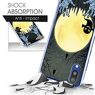 Compatible with Samsung Galaxy M20 Case Ultralight fashion Soft TPU Silicone Cover Halloween Creative Pattern Case Cover Interesting pumpkin lantern Protection Case Anti-fall Case