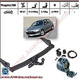 ATTELAGE avec faisceau 7 broches   Peugeot 206 de 1998 à 2003 / crochet «col de cygne» démontable avec outils