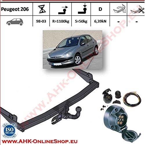 ATTELAGE avec faisceau 7 broches | Peugeot 206 de 1998 à 2003 / crochet «col de cygne» démontable avec outils