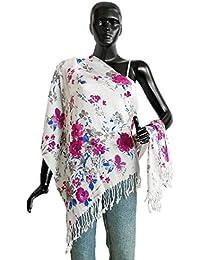 DollsofIndia Magenta Floral Print On White Light Woolen Stole - 26 X 68 In. (NC32) - White, Magenta