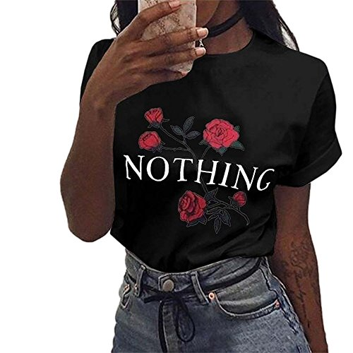 Ulanda Damen Sommer Shirt Teenager Mädchen Casual Baumwolle Bluse Loose Kurzarm Rose Druck Muster Nothing Tops Hemd Oberteile Pullover T-Shirt (XS, ()