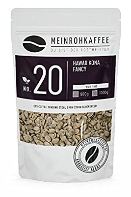 Green Coffee - Hawaii Kona (Green Coffee Beans) - Balanced with Intense Aroma, Medium-Bodied and Spicy - from Certified Organic-Organic Cultivation - 500g from kaffeearomen