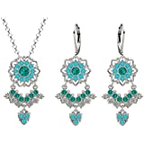 Lucia Costin Silver, Turquoise - Green Swarovski Crystal Jewelry Set, Alluring