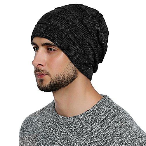 DonDon Herren Winter long Beanie sehr warme und weiche Mütze mit Teddyfleece schwarz grau