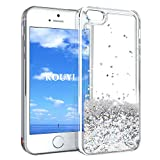 KOUYI iPhone 5/5S/SE Hülle Glitzer, Luxus Fließen Flüssig Glitzer 3D Bling Dynamisch Silikon Flexible TPU Kreativ Shiny Glitter Cover Beschützer für Apple iPhone 5 / iPhone 5S / iPhone SE (Silber)