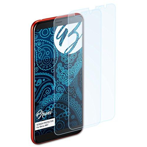 Bruni Schutzfolie für Meizu M6T Folie, glasklare Bildschirmschutzfolie (2X)