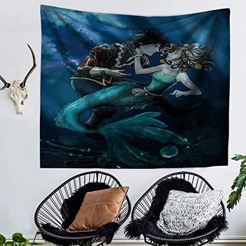 Tapestry Wall Hanging,Prinz Und Abstract Meer Mermaid/Böhmisches Indischen Hippie Psychedelic Modern/Multi-Funktion An Der Wand/3-D-Druck Groß Home Decoration/Hängende Tuch/Für Wohn-/Strandtuch, - Abstract Tröster