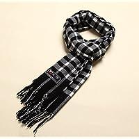 Los hombres de invierno y otoño cálido engrosamiento de los hombres bufanda, bufanda, Winter Men 's Classic Fashion Plaid Scarf,Blanco y negro rayas gris